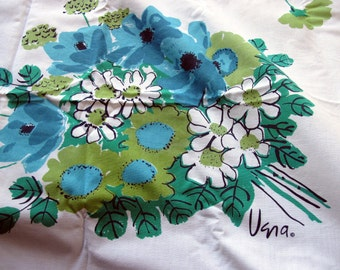 Vintage Vera Tablecloth turquoise blue white floral
