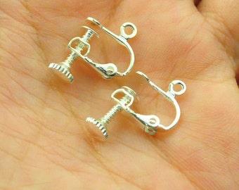 50pcs silver plated leverback ear clips screw earring findings 14x16mm