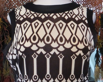 Andy Warhol Eye-Popping  Mod 60s Black and White Shift Dress