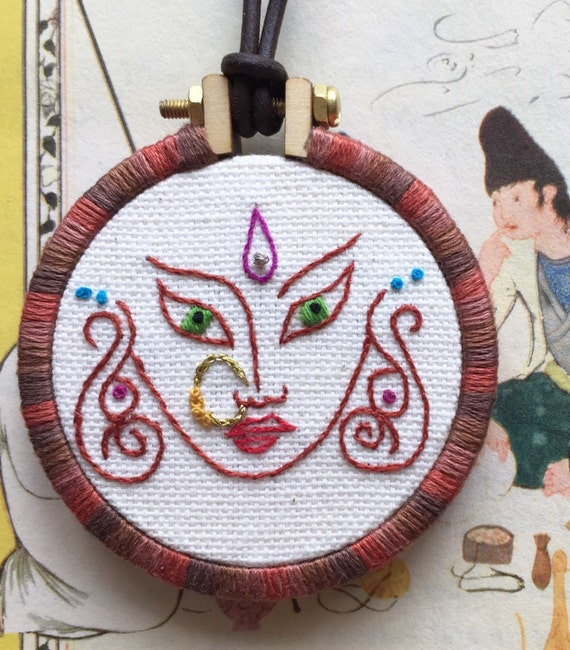Little Krishna Face Hand Embroidered Mini Hoop Art Necklace, India, Myth, Whimsical, Hand Embroidered