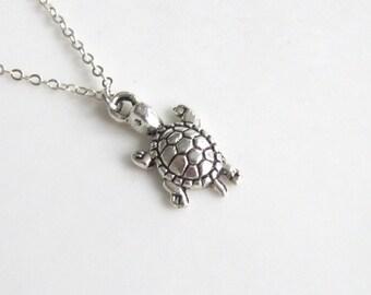 Cute Turtle Necklace Silver Boho Simple Minimalist Sea Necklace Bridesmaid Wedding 4220