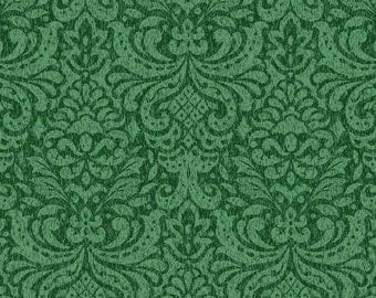 Father Frost Benartex Quilt Fabric by the 1/2 yard Green Damask