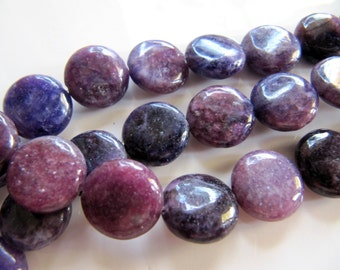 12mm Violet Stone Beads in Purple and Lavender Shades, Flat, Round, 1 Strand, Approx 32 Pieces, Dyed Gemstone Beads