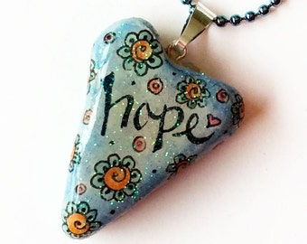 Inspirational Heart Pendant, Polymer Clay Heart Necklace, Watercolored Heart Necklace