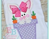 Easter Bunny Shirt with Ribbon Bow Embellishment  - Machine Appliqué - Personalized Embroidery
