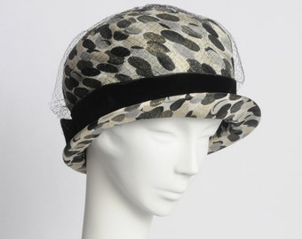 Spotted Cloche Hat 1950's-20% off Sale: Use code HappyNewYear20