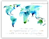World Watercolor Print 8x10