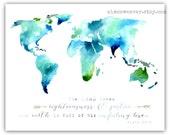World Watercolor Print 8x10