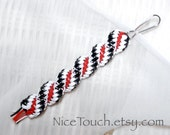 SPRING SALE!!! Free Shipping or Save 20% ~ Harley Quinn black, white, and red woven waterproof gimp keychain ~ Made to Order
