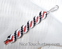 SUMMER SALE!!! Free Shipping or Save 20% ~ Harley Quinn black, white, and red woven waterproof gimp keychain ~ Made to Order