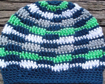 Child Crocheted  Seattle Seahawks Geometric Patterned Slouch Style Beanie Hat,Toddler,  Team Pride, 1-3 Years