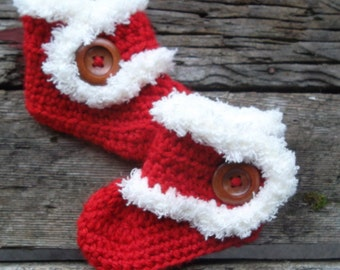 Baby Booties, Fur Timmed Boots, Baby Boots, Crochet Baby Booties, Red, Baby Ankle Boots, Photo Prop, Cherry, Vanilla