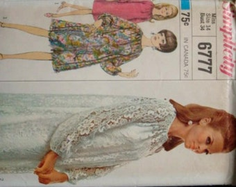 1960s Designer Slip and Dress Round Neck Raglan Sleeves Button & Loop Closure Simplicity 6777 Sz 14 Bust 34 Uncut FF Vintage Sewing Pattern