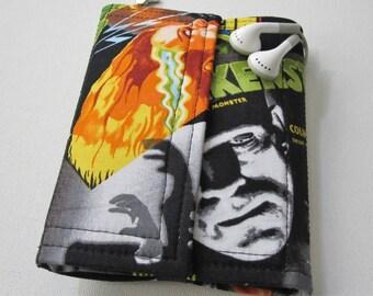 Nerd Herder gadget wallet in Frankenstein for iPhone 5, Android, iPhone 6, Samsung Galaxy S5, guitar picks, digital camera, earbuds