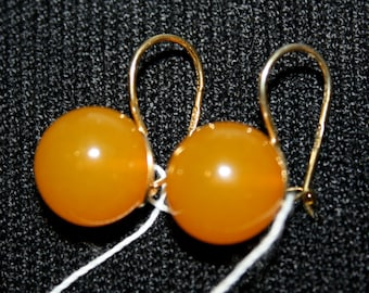 VINTAGE Style RUSSIAN 925 Silver Gold Plated Honey Baltic  AMBER Earrings