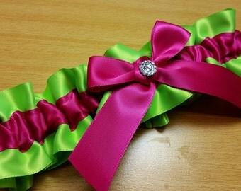 Wedding Garter , beautiful bright lime and fuchsia pink SINGLE garter or SET