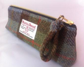 Mans Harris tweed pencil case made in Scotland gift man gift woman gift Scottish vegetarian  wool tartan