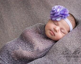 Purple baby headband,  infant headband, newborn headband, lavender flower headband, photo prop, purple flower, lavender bow, baby bow