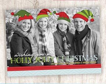 Funny Elf Hats Christmas, Holiday Photo Card Greeting, Santa's Elves Photo Card - DiY Printable, Print Service Available || Our Elf Family