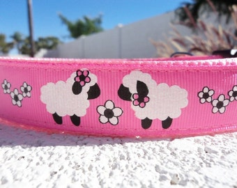"Sale Girl Dog Collar Lambs & Daisies 1"" wide Quick Release buckle adjustable  - no martingale or matching leash limited ribbon"