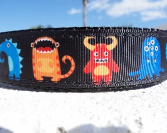 "Dog Collar Silly Monsters, 1"" wide Quick Release buckle or Martingale collar adjustable."