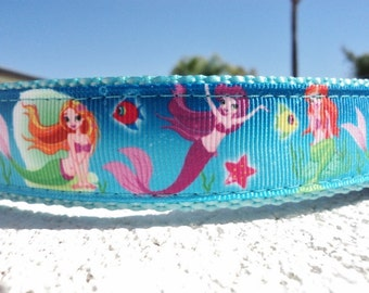 """Girl Dog Collar 1"""" wide Mermaid Friends Quick Release or Martingale collar adjustable"""