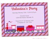 PRINTABLE Valentine's Day Train Party (Girl) Invitations