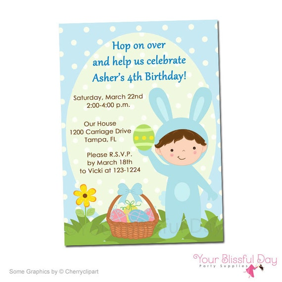 PRINTABLE Boy Easter Bunny Birthday Party Invitations (Character of your choice) #412