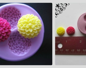 Mum Flower Mold Cupcake Topper Fondant Mould Polymer Clay Resin Silicone Mold