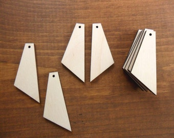 """25 Earring Shapes Tapered Wood Cutout 2"""" H x 3/4"""" W x 1/8"""" Unfinished Laser Cut Wood Necklace Pendant Earrings Jewelry Making"""
