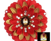 Iron Man Red and Gold Penny Blossom Rhinestone Flower Barrette
