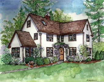 House Portraits in Pen&Ink and Watercolor, Paper Anniversary Gift, Hand-painted by Patty Fleckenstein