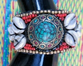 Fabulous Chunky Vintage Coral & Turquoise Beaded Tibetan Cuff Bracelet
