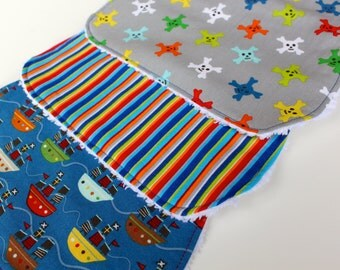 "Contoured Burp Cloths - or Rectangular (YOU CHOOSE) - ""Ahoy Matey"" Pirate-Themed Burp Rags - New Baby Boy Gift - Boutique Burp Cloth"