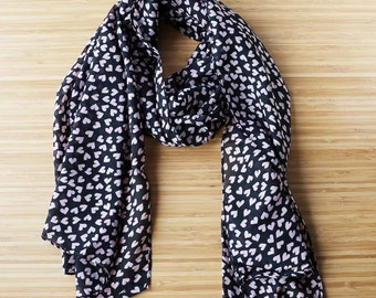 Heart print scarf ditsy heart scarf ditsy print scarf rockabilly scarf black ditsy scarf Kitsch scarf
