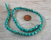 8mm by 6mm Skull Beads Strand Turquoise Blue Stone Teeny Tiniest Yet