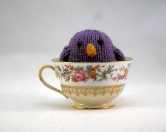 Hand Knit Purple Bird Ready To Ship