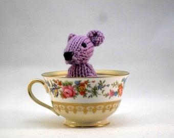 Hand Knit  Mouse Lavender  Ready To Ship