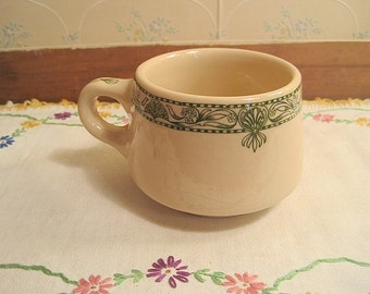Green and Tan Wellsville China Restaurant Ware Cup
