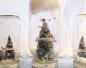 "Personalized Large Mason Jar Snow Globe, Forest Christmas Decoration - ""A Shower of Stars"""