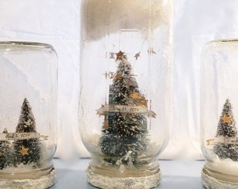 "Personalized Large Mason Jar Snow Globe, Woodland Christmas Decoration - ""A Shower of Stars"""