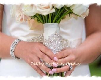 Bouquet Wrap, Jeweled Bridal Bouquet Wrap,  Crystal Wedding Bouquet Wrap, Rhinestone Bridal Bouquet Wrap, Bouquet Cuff, Bracelet, No. 1161BW