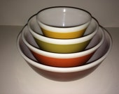 Vintage Pyrex Nesting Bowls - Americana Fall Colors - White Stripe - 404,403,402,401