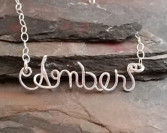 Sterling Silver Wire Name Necklace, Personalized, Custom Name Pendant