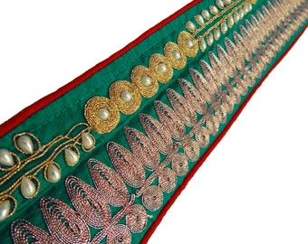 Sewing Pearls Beaded Trim Designer Indian Bridal Sari Border Fabric Trim Sewing Crating Supplies Embroidered Sew Lace Trim By 1 Yard FT387