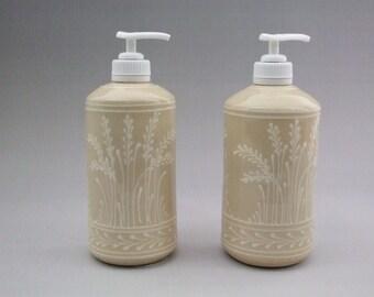 Soap or Lotion Dispenser White Wheat on  Stoneware