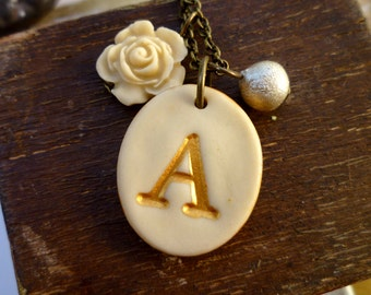 Romantic Ivory Letter Necklace - High Tea - Romantic Initial Necklace - Monogram Necklace - Personalized Gift for Women