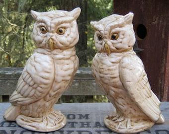 Pair of Owl Figurines Made in Japan - Bird Owl Owlett - Oak Hill Vintage