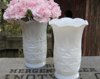 Pair of Ruffled Starburst Vases in White Milk Glass - Hazel Atlas - Weddding Decor - Table Centerpiece - Oak Hill Vintage