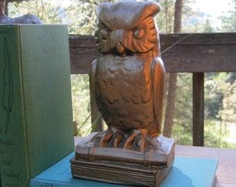 Owl Bookend - Large Heavy Size 3 lb 12 oz - Oak Hill Vintage
